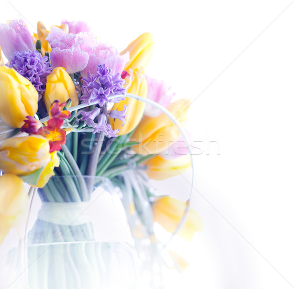 Beauty border frame - art colorful flowers background Stock photo © gromovataya