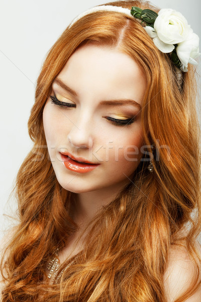 Enjoyment. Portrait of Authentic Golden Hair Woman with Natural Clean Healthy Skin. Femininity Stock photo © gromovataya