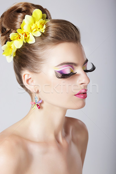 Glam. Profile of Fashionable Woman with Amazing Fantastic Eye Make-up Stock photo © gromovataya