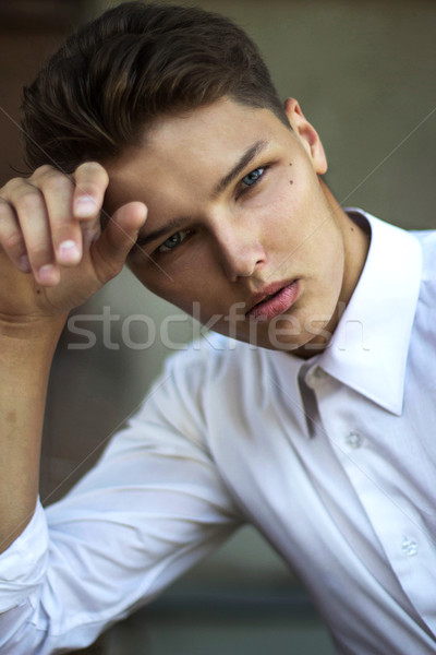 Portrait of Daydreaming Handsome Man Fashion Model in Reverie Stock photo © gromovataya
