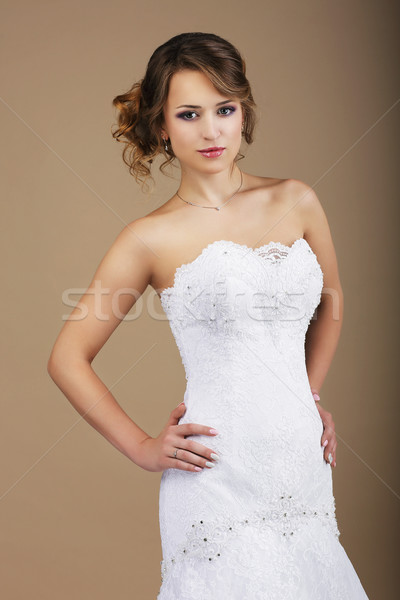 Lovely Woman wearing White Bridal Dress Stock photo © gromovataya