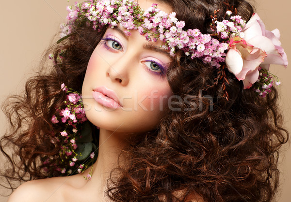 Maiden. Beautiful Neat Woman with Pink Romantic Wreath. Classy Brunette Stock photo © gromovataya