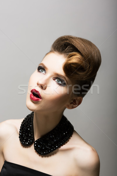 Expression. Daze. Amazed Woman's Face. Surprised Young Person with Black Beads Stock photo © gromovataya