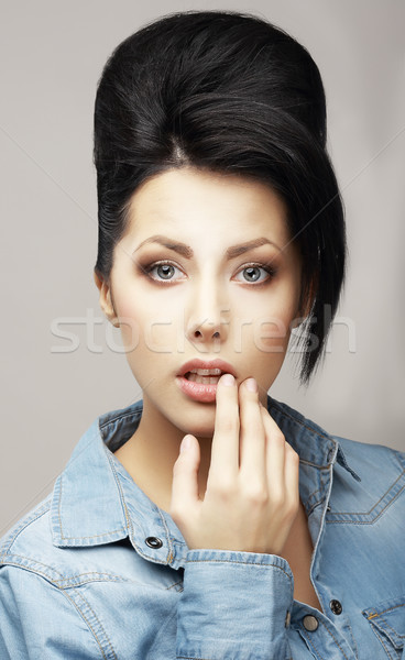 Individuality. Charming Classy Brunette in Reverie. Trendy Coiffure with Forelock Stock photo © gromovataya