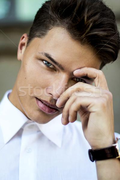 Magnetism. Elegant Handsome Man Fashion Model Stock photo © gromovataya
