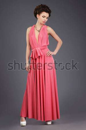 Podium model - sensual woman in fashion modern dress Stock photo © gromovataya