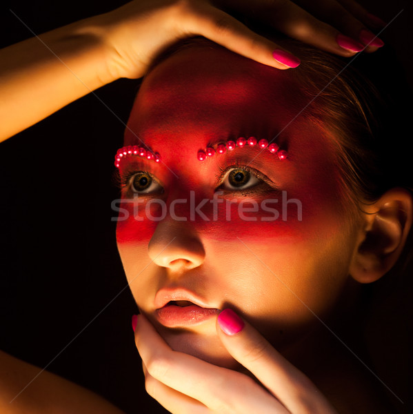 Fantasy. Portrait of Woman with Painted Face Close Up Stock photo © gromovataya