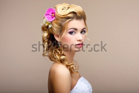 Freshness. Femininity. Beauty Portrait of Classy Woman with Flowers. Dreaminess Stock photo © gromovataya