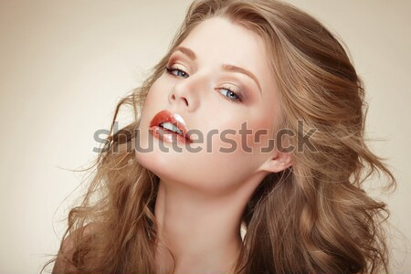 Genuine Comely Woman with Flossy Whity-Brown Hair Stock photo © gromovataya
