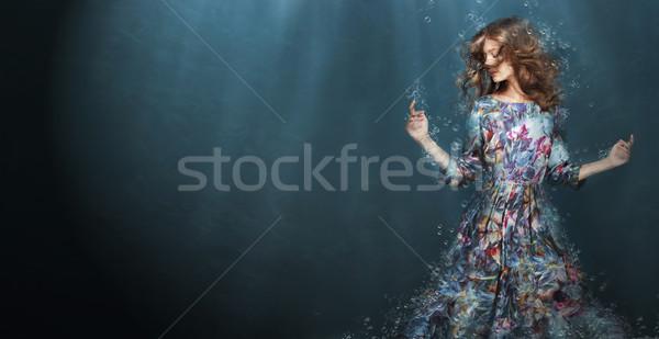 Kobieta głęboko niebieski morza fantasy dziewczyna Zdjęcia stock © gromovataya