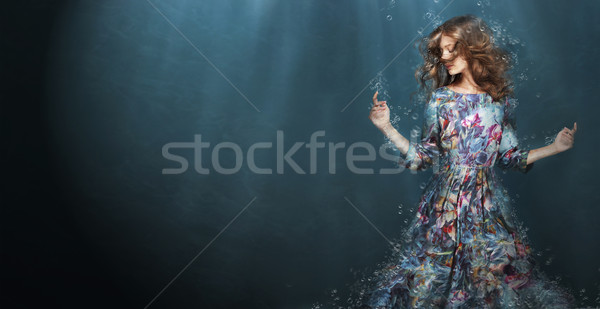 Femme profonde bleu mer Fantasy fille Photo stock © gromovataya