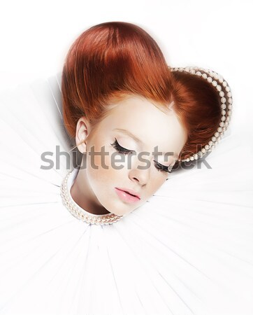 Beautiful Red Head Duchess in Jabot - Retro Style. Dramatic Theatrical Makeup. Masquerade Stock photo © gromovataya