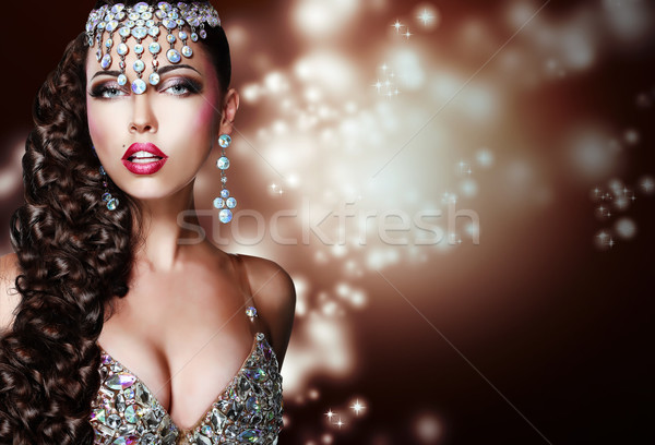Arabian Style. Mysterious Woman in Shiny Ornamentation Stock photo © gromovataya