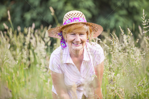 Positivity. Happy Senior Peasant Woman in Meadow smiling. Mature Friendly Lady in Bonnet Stock photo © gromovataya