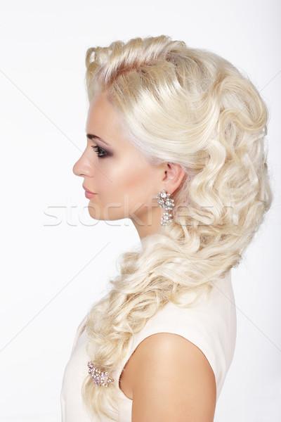 Sophistication. Profile of Fashionable Girl with Ashen Dyed Curly Hairs Stock photo © gromovataya