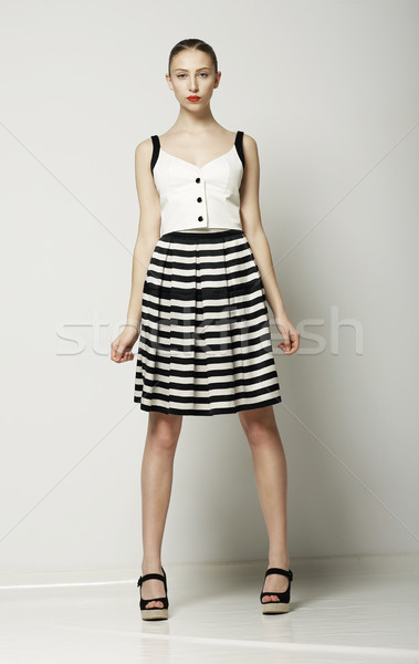 Ultra Fashionable Woman in Modern Tabby Dress posing. Vogue Summer Collection Stock photo © gromovataya