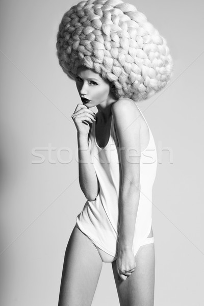 Glamor. Image of Fashion Model In Unusual Wig in Artistic Pose Stock photo © gromovataya