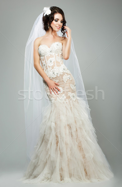 Wedding. Romantic Sensual Bride Fashion Model Wearing Sleeveless White Bridal Dress Stock photo © gromovataya