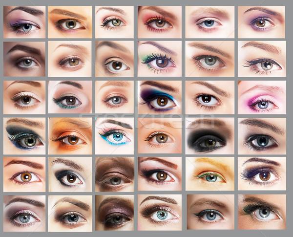 Mascara. Great Variety of Women's Eyes. Set of Eyeshadow Stock photo © gromovataya