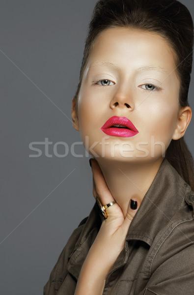 Wyrafinowany kobieta czerwone usta moda usta skóry Zdjęcia stock © gromovataya