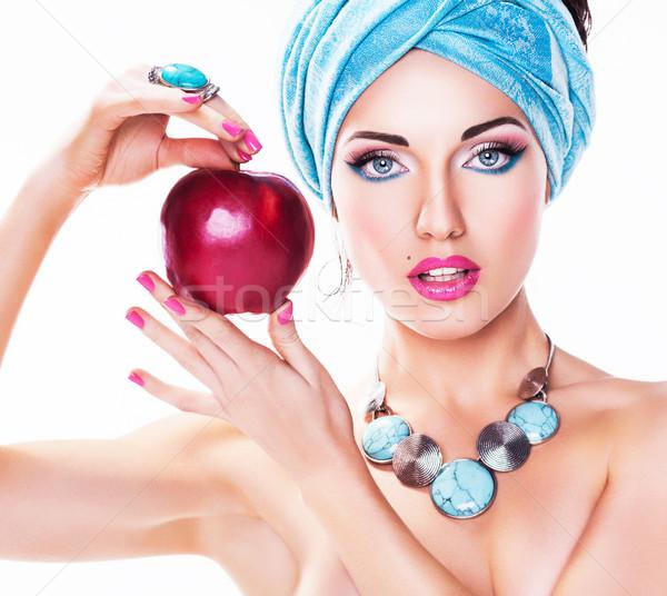 портрет привлекательный красное яблоко красоту стиль Сток-фото © gromovataya