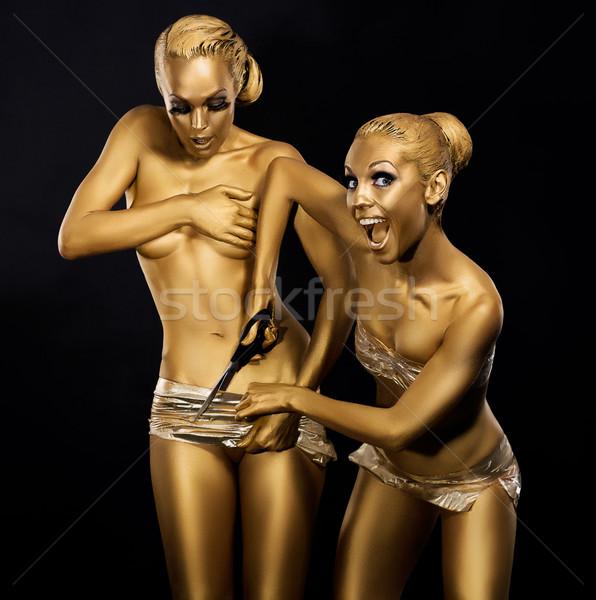 Belachelijk komisch humoristisch vrouwen goud metalen Stockfoto © gromovataya