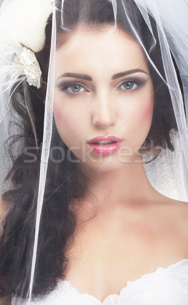 Delicacy. Caucasian Woman Hidden behind Traditional Bridal Veil Stock photo © gromovataya