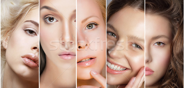 Stock photo: Beauty Collage. Set of Women's Faces with Different Make Up