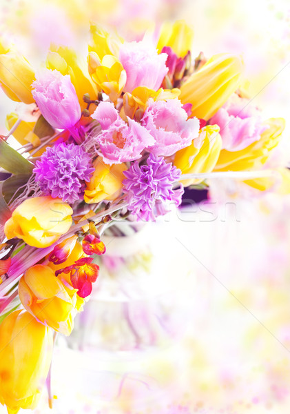 Vernal flowers bouquet over blurred background Stock photo © gromovataya