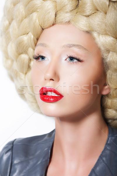 ぜいたくな ヘアスタイル スタイリッシュ 女性 創造 芸術 ストックフォト © gromovataya