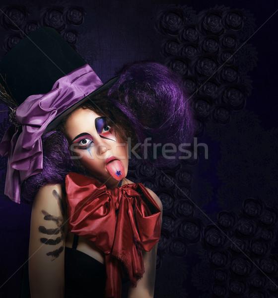 Burleszk humoros komikus kalap mutat nyelv Stock fotó © gromovataya