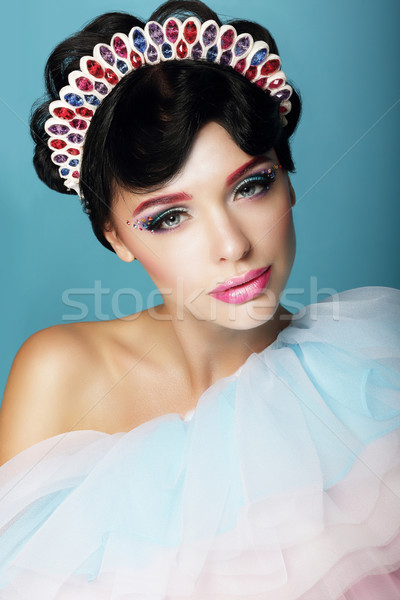 Artistic Woman with Fantastic Makeup and Diadem Stock photo © gromovataya