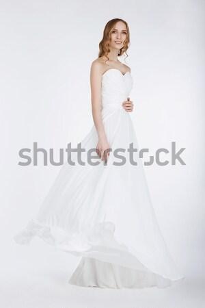 Сток-фото: красивой · невеста · роскошный · белый · свадьба · долго