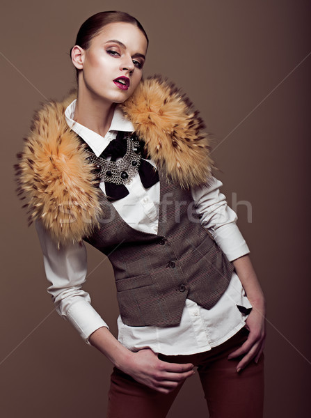 Charisma. Aristocratic Stylish Fashion Model in Modern Apparel. Elegance Stock photo © gromovataya