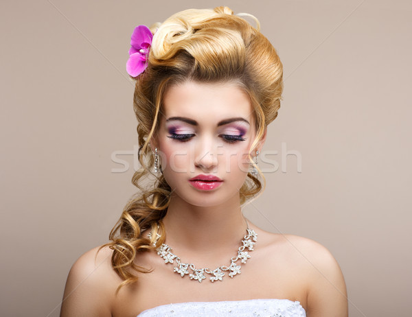 Wedding. Beautiful Thinking Bride with Diamond Necklace. Elegance & Femininity Stock photo © gromovataya