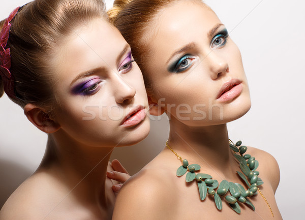 Sultry Beauties. Aspiration. Two Tempting Meek Girlfriends in Reverie. Love Stock photo © gromovataya