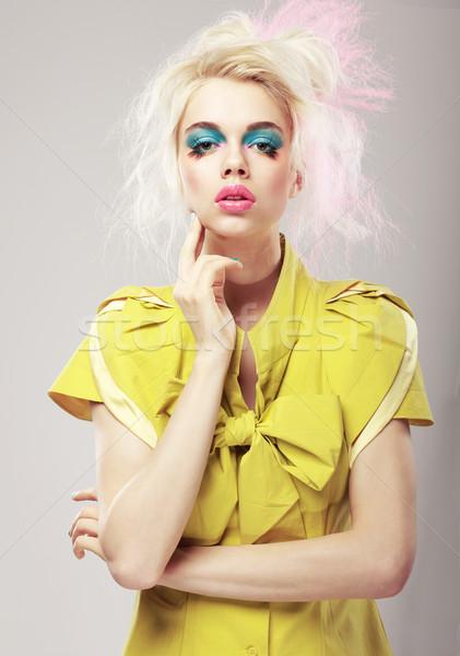 Art deco élénk szőke haj nő smink Stock fotó © gromovataya