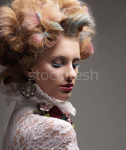Eingebung Mode Modell farbenreich gefärbt Haar Stock foto © gromovataya