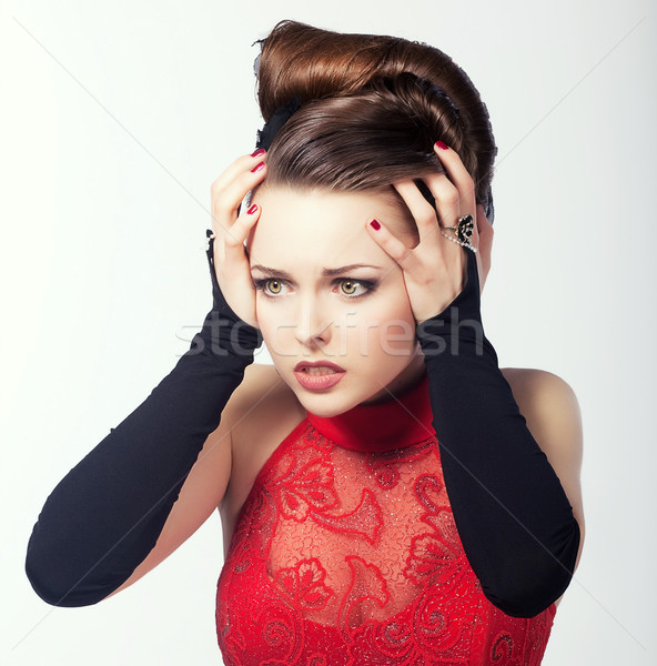 Anxiety. Woman in Emotional Stress and Frustration. Sadness & Discomfort Stock photo © gromovataya