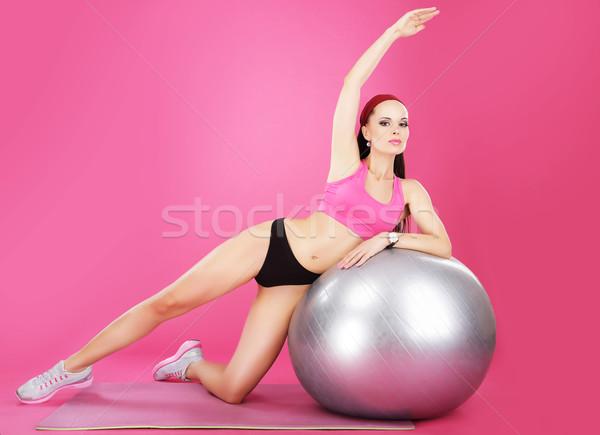Aerobics vrouw fitness bal Stockfoto © gromovataya