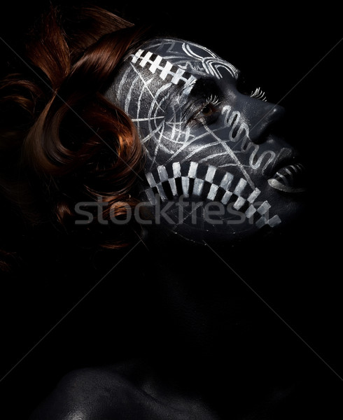 Religion. Worship. Black female in ceremonial mask Stock photo © gromovataya