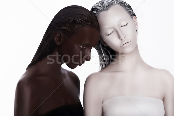 Multiracial Multicultural Concept. Ethnicity. Women Colored Brown and White. Devotion Stock photo © gromovataya
