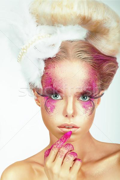 ábrázat nő festett bőr ujjak modell Stock fotó © gromovataya