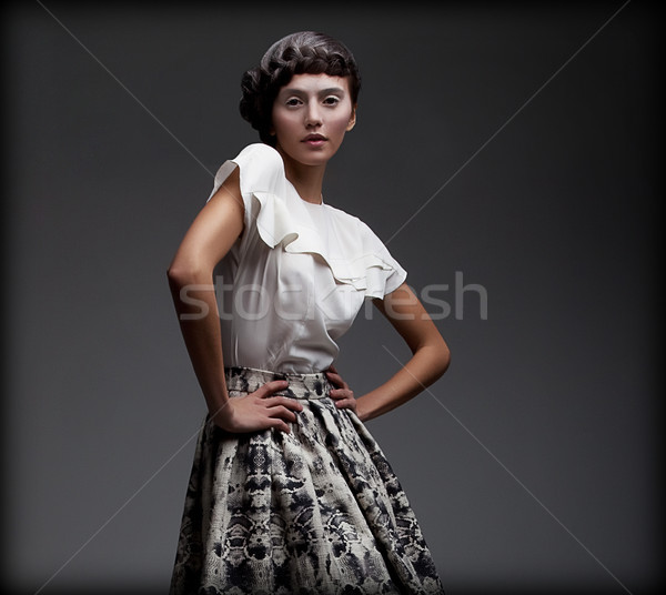 Stately Fascinating Woman in Classic Elegant Blouse and Skirt. Aristocracy Stock photo © gromovataya