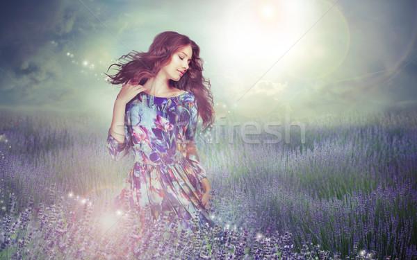 Fantasy femme énigmatique prairie nuageux ciel Photo stock © gromovataya