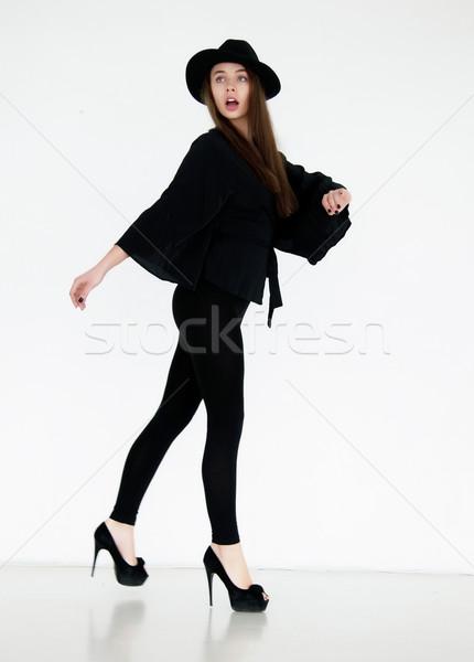 Pompás női fekete retro ruházat pózol Stock fotó © gromovataya