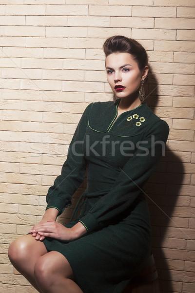 Spektakularny brązowe włosy kobieta w stylu retro pinup ściany Zdjęcia stock © gromovataya