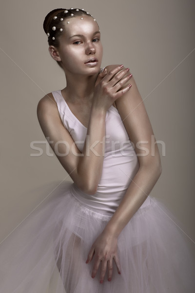 Extravagance. Performance. Glossy Woman with Bright Brown - Silver Makeup Stock photo © gromovataya