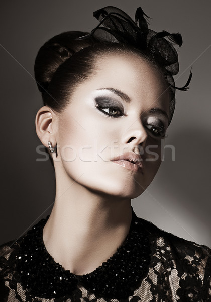 Gentleness. Portrait of Luxurious Exquisite Lady in Black daydreaming. Elegance Stock photo © gromovataya