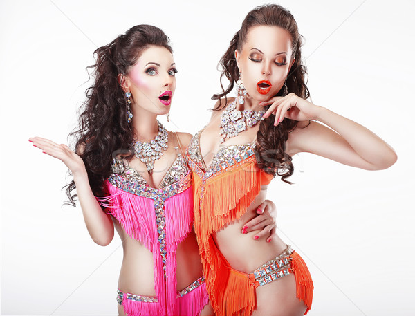 Clubbing. Two Women Showgirls in Stage Dresses Stock photo © gromovataya